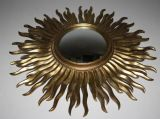 VINTAGE  FRENCH  CONVEX SUNBURST MIRROR , RESIN  FRAME  - Ref: AOT29